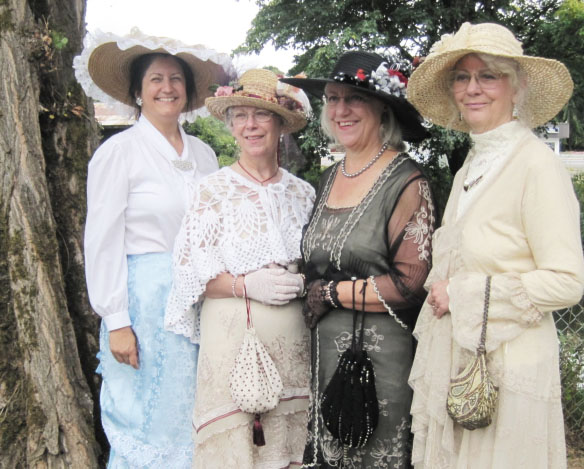 Sharon Sullivan and friends in Victorian costume at the Historic Elliot House